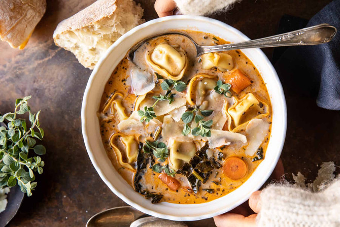 Healthier Slow Cooker Creamy Tortellini Vegetable Soup