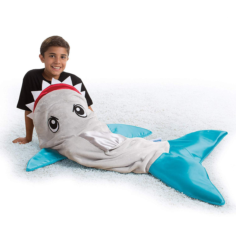 Snuggie Tails Shark Blanket- Comfy, Cozy, Super Soft, Warm, All Season, Wearable Blanket for Kids, As Seen on TV