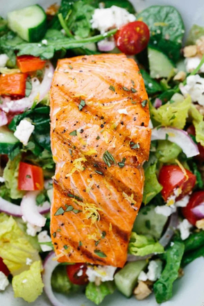 Salmon Greek Salad with Lemon Basil Dressing