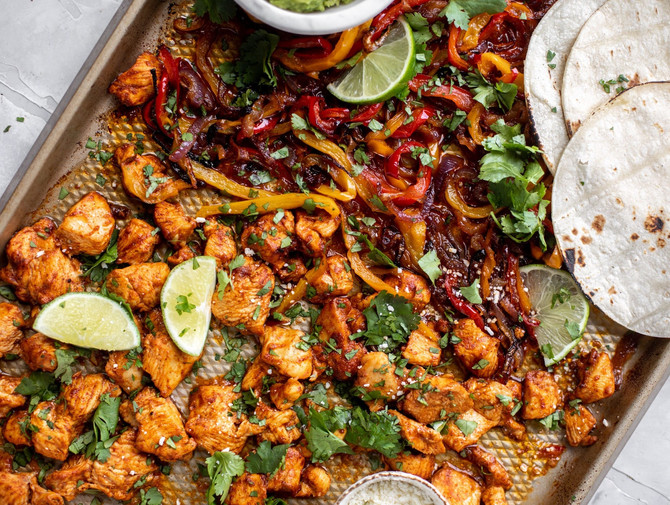 Lime Sheet Pan Chicken Fajitas with Quick Guac