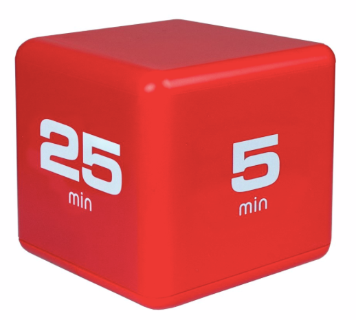 The Miracle TimeCube Timer, 5, 10, 20, 25 Minutes, for Time Management, Kitchen Timer, Kids Timer, Workout Timer, Red
