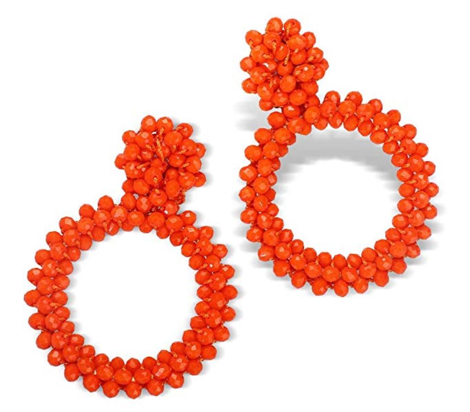 FIFATA Statement Beaded Earrings Hoop Bohemian Handmade Fringe Dangle Drop Earrings for Women