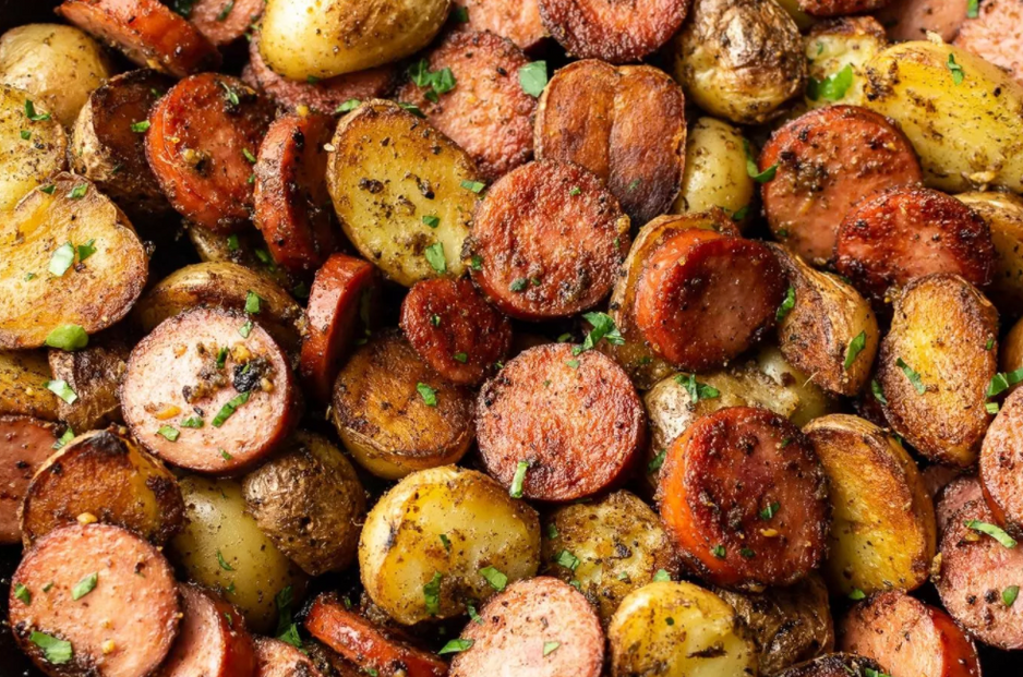 Pesto Pan-Fried Sausage and Potatoes