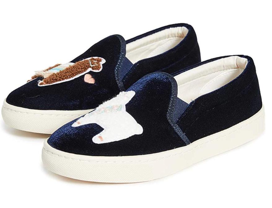 Soludos Women's Llamas in Love Velvet Slip On Sneakers