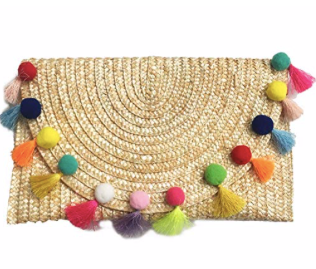 traw Pom Pom and Tassel Clutch - Colorful Summer Bag