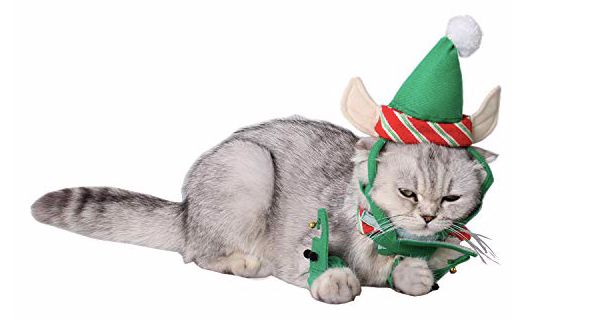 Fast and Good Cat Santa Christmas Elf Hat + Collar + 2Pcs Elf Foot Straps, Head Wear Accesories Christmas Costume Green Elf Outfits for Pet Dog Cat...