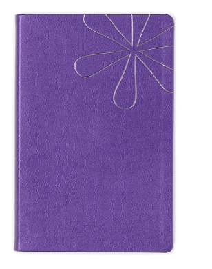 Erin Condren Designer Softbound Notebook - Features a Shimmer Purple Colored Cover and a Lined Page Layflat Layout