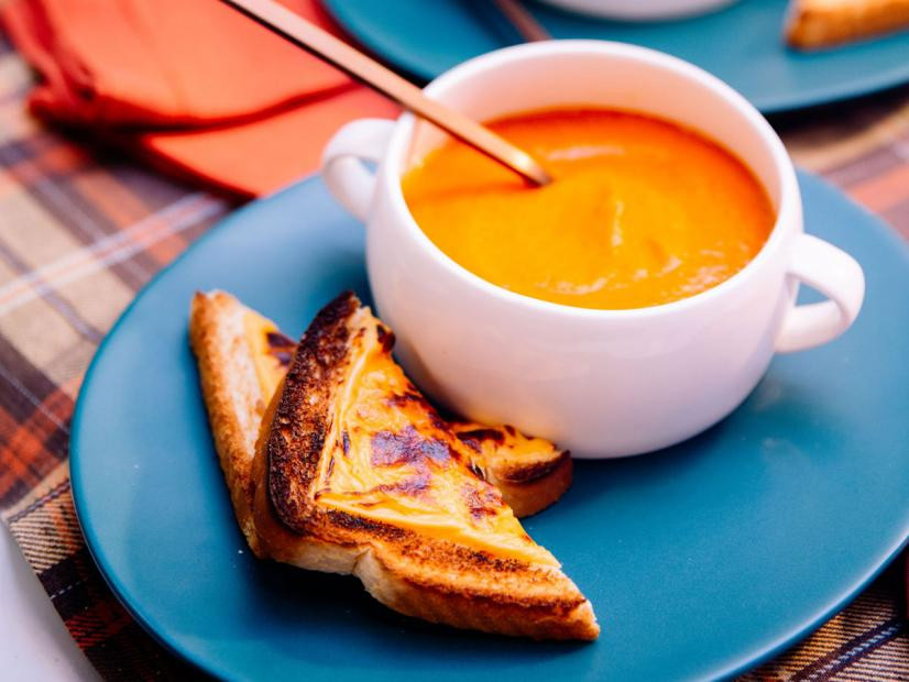 Sunny's Simple Roasted Tomato Soup with Broiled Cheese Toast