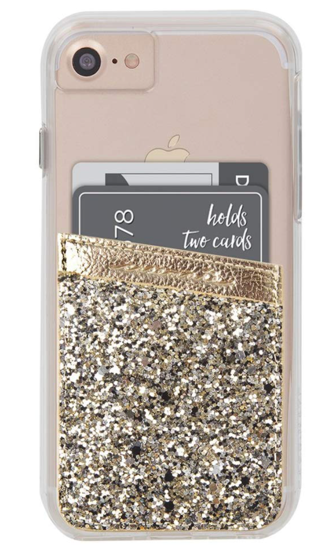 Case-Mate - Stick On Credit Card Wallet - POCKETS - Ultra-slim Card Holder - Universal fit - Apple – iPhone – Samsung – Galaxy - and more - Champagne Glitter