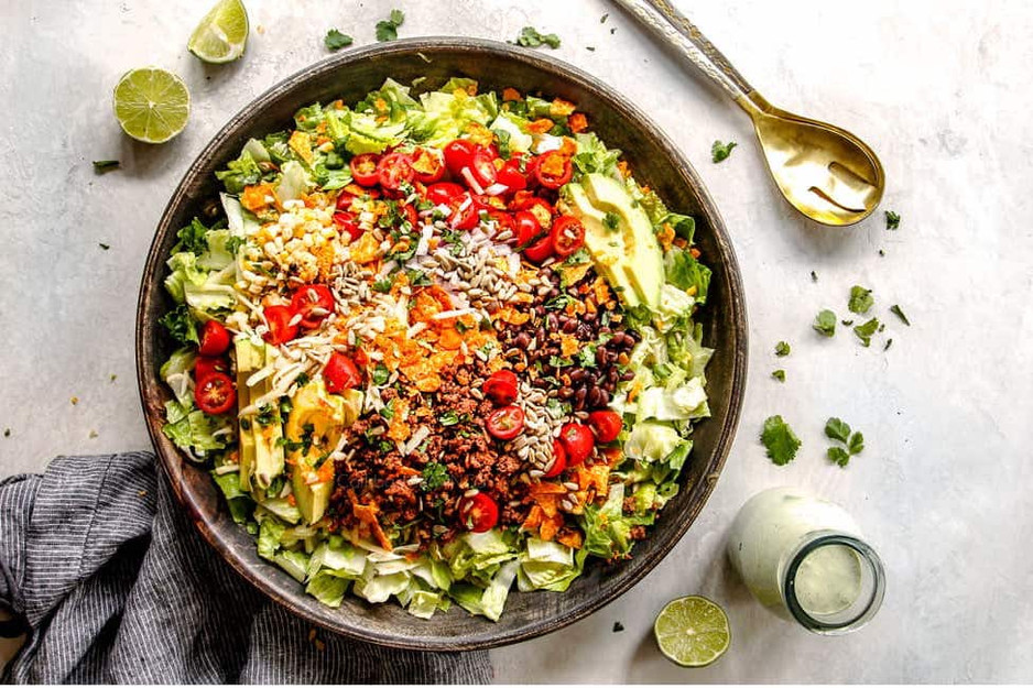 The Best Taco Salad with Cilantro Lime Dressing