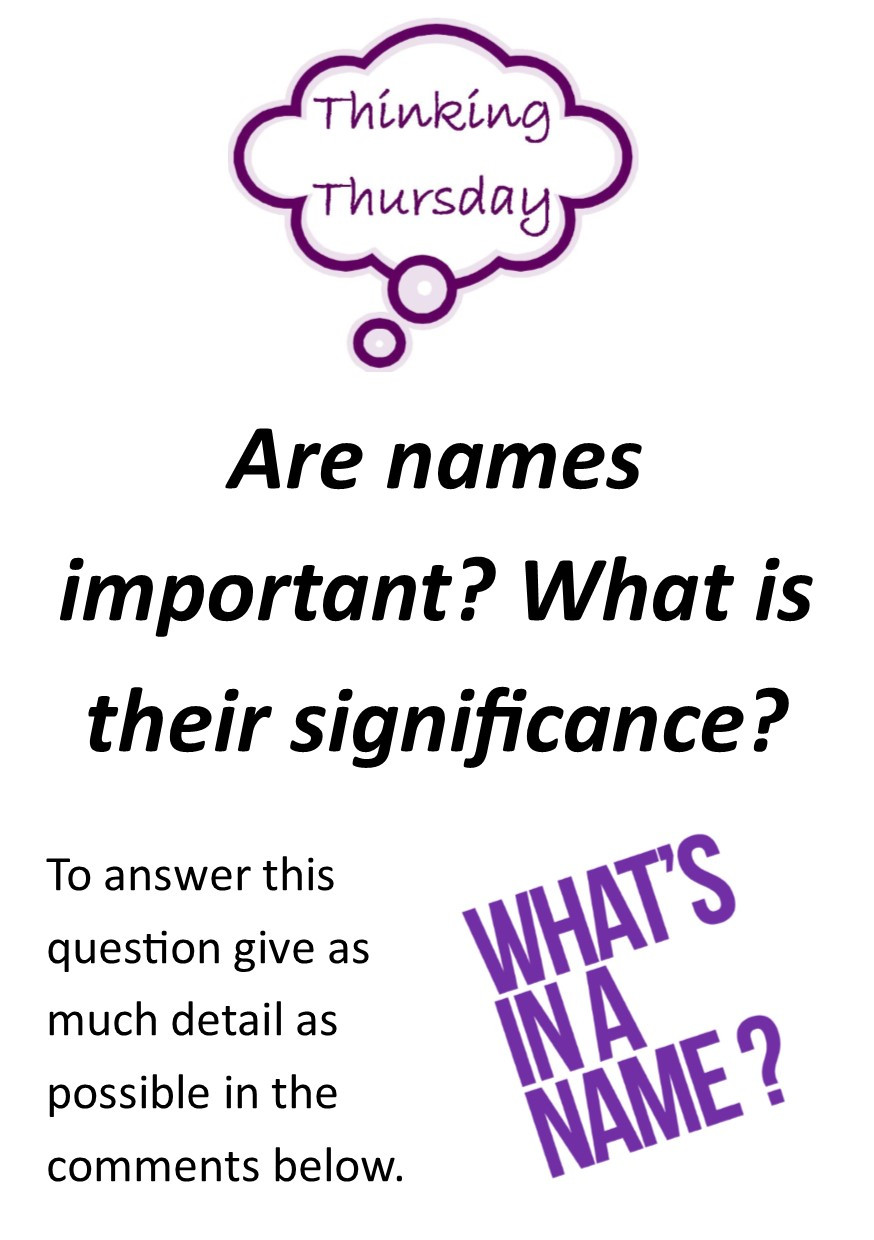 Practice your English by answering this 'Thinking Thursday' question: Are names important? What is their significance?