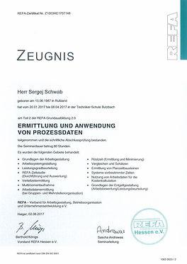 Zertifikat Sergej Schwab Anwendung von P
