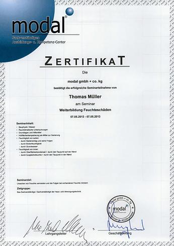 Feuchteschäden Zertifikat