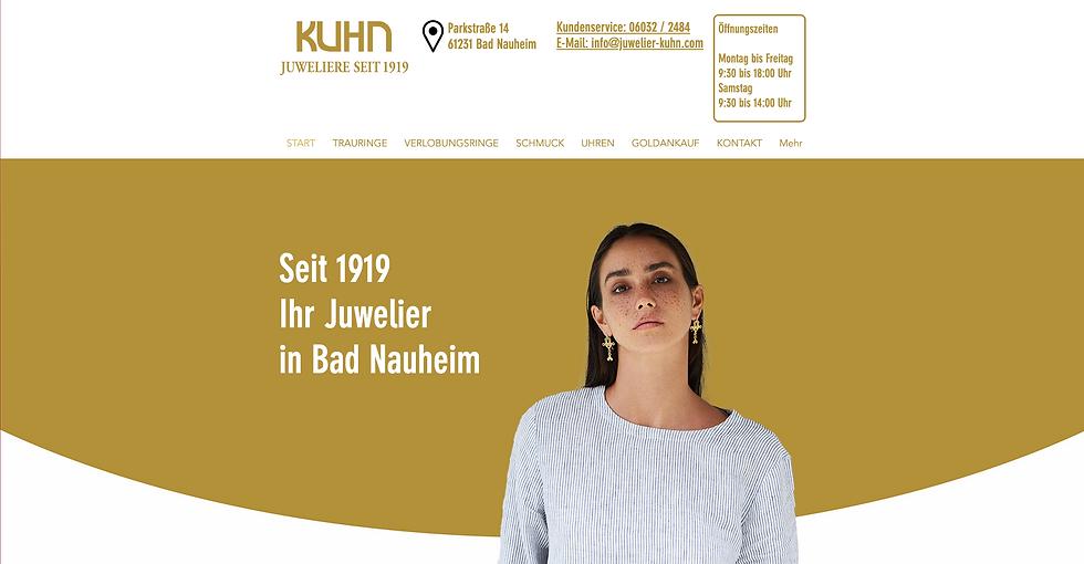 Webseite von Juwelier Kuhn in Bad Nauhei
