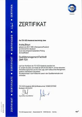 Zertifikat Andrej Braun Qualitätsmanage