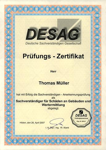 Schäden an Gebäude und Wertermittlung Zertifikat