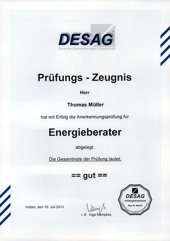 Prüfungszertifikat zum Energieberater für Thomas Müller, bestanden mit Note 2 gut