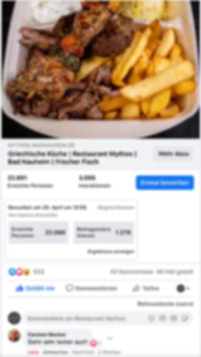 Facebook Werbung für das Restaurant Myth