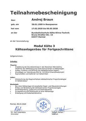 Zertifikat Andrej Braun Klimatechnik wei
