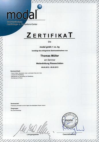 Risseschäden Zertifikat