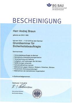 Zertifikat Andrej Braun Sicherheit im Be