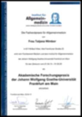 Zertifikat für Allgemeinmedizin