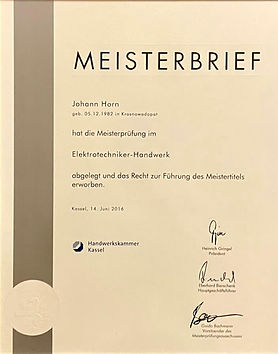 Meisterbrief Elektrotechnik Braun Immobl