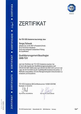 Zertifikat Sergej Schwab Qualitätsmanag