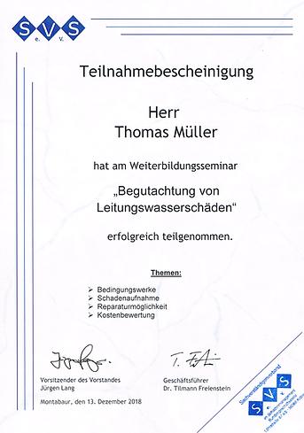 Zertifikat für Begutachtung und Leitungswasserschäden