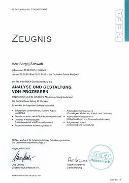 Zertifikat Sergej Schwab Analyse und Arb