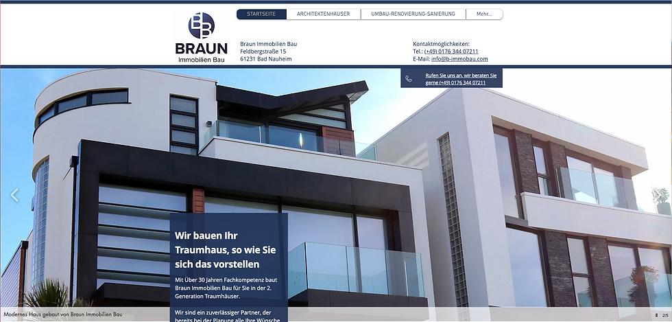 Webseite von Braun Immobilien Bau, erste