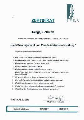Zertifikat Sergej Schwab Selbstmanagemen