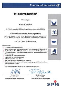 Zertifikat Andrej Braun Arbeitssicherhei