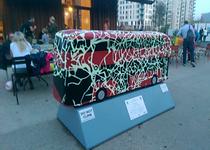 Time Travel bus sculpture