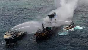 Cargo ship carrying chemicals sinks off Sri Lanka's coast, officials fear oil spilling.