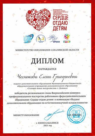 2021 грамота победитель Сердце Чеснокова