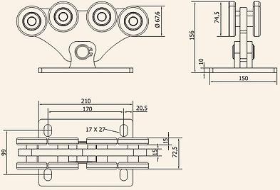 Размеры тележки CAME комплекта M (до 700кг)