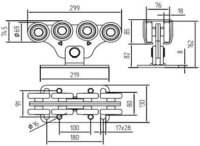 Размеры тележки ALUTECH комплекта SGN 02 (до 700кг)