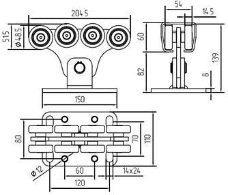Размеры тележки ALUTECH комплекта SGN 01 (до 450кг)
