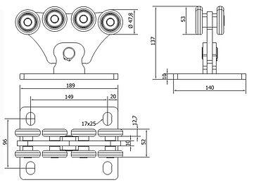 Размеры тележки CAME комплекта S (до 500кг)