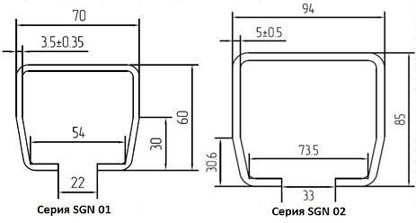 Размеры направляющих балок ALUTECH комплектов SGN 01 и SGN 02