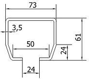 Размеры направляющей балки CAME S (до 500кг)