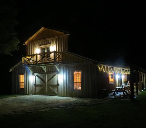 night view of barn