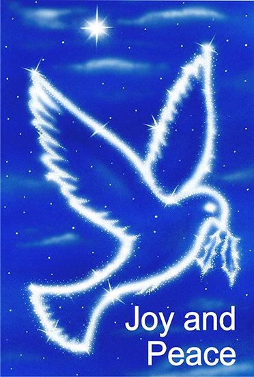 """Pack of 6 Christmas Cards - Blue Dove - """"Joy and Peace"""" - H11225"""