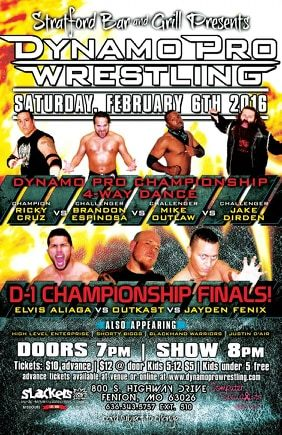 "(""The Filipino Warrior"" Elvis Aliaga vs. Outtkast vs Jayden Fenix - February 6th, 2016 Promotional Flyer –  Courtesy of Dynamo Pro Wrestling)"