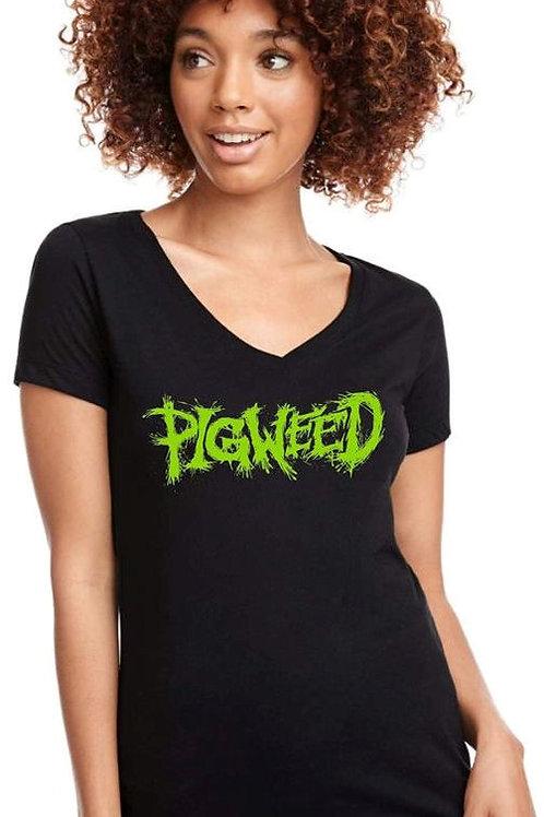 Pigweed Logo Black Female V Neck Shirt