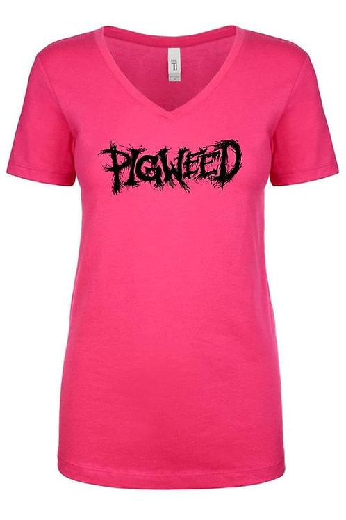 Pigweed Logo Pink Female V Neck Shirt