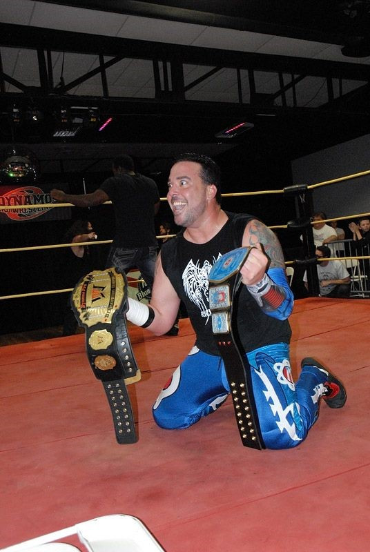 """The King of Chaos"" Ricky Cruz becomes a dual champion in one night! (Photo courtesy of Dynamo Pro Wrestling)"