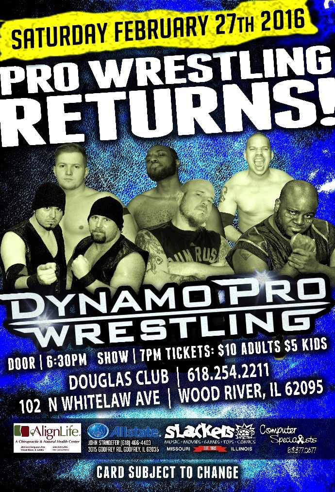 "Dynamo Pro Wrestling heavyweight champion ""DirdEY"" Jake Dirden vs.  Dynamo Pro Wrestling D-1 champion Outtkast (Promotional poster courtesy of Dynamo Pro Wrestling)"