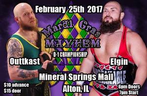 "(Dynamo Pro Wrestling D-1 Champion Outtkast vs. ""Unbreakable"" Michael Elgin February 25th, 2017 Promotional Flyer – Courtesy of Dynamo Pro Wrestling)"